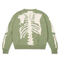 Herren Hoodies Sweatshirts Hip Hop Übergroße Pullover Grün Lose Skelett Knochendruck Damen Qualität High Street Schaden Loch Vintage Knitte