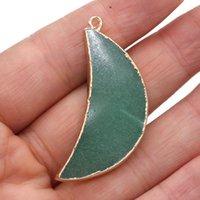 Charms Małe Wisiorki Naturalne Kamień Zielony Aventuryn Księżyc Kształt Wisiorek Dla Biżuterii Dokonywanie DIY Naszyjnik Akcesoria 18x45mm