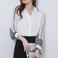 Women's Blouses & Shirts Elegant Print Women Blouse Vintage Retro Peplum White V Neck Female Puff Casual Blusa Mujer