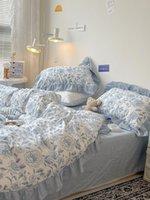 Подвесные комплекты Корейский пасторализм Twill 100% хлопок синий свежее цветочное стеганое покрытие кружева в стиле листовая наволочка королева близнецов 4шт