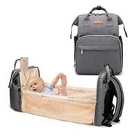 Diaper Bags Bag Multifunctional Baby Folding Bed Moms And Dads USB Backpack Maternity Nursing Handbag Stroller Drop