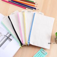 5 couleurs bricolage blanc canvas stylo sac peinture glisser la fermeture à glissière crayon stylos sacs papeterie robe de rangement cosmétique pochette grande capacité FWB10083
