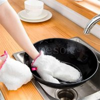 Waterproof Rag Glove White Anti-slip Dish Washing Gloves Household Kitchen Cleaning Gloves Tools Winter Warm Cleaning Glove dd347