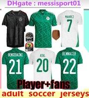 2021 Cezayir Maillot de Futbol Futbol Formaları 2 Yıldızlı Ev Beyaz Mahrez Bounedjah Bouazza 20/21 Cezayir Erkekler Üniforma S-2XL