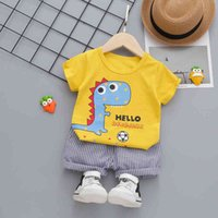 Children's Suit Clothes Summer Baby Cartoon Kids T Shirt Football dinosaur Short Boy Outfit leisure Suit Children Clothing Set 1 A0511