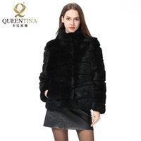 Whole Full Pelt Rabbit Fur Coat Stand Collar Jacket Real Winter Women Fashion Waistcoat Natural 211021