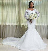 Scoop Neck Long Sleeves Lace Mermaid Wedding Dresses Appliqued Court Train Tulle Plus Size Bridal Gowns Mobe De Mariée