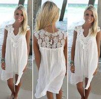 Boho Style Women Lace Dress Summer Loose Casual Beach Mini Swing Chiffon Bikini Cover Up Womens Clothing Sun Dress