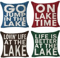 Cushion Decorative Pillow Go Jump In The Lake On Time Cotton Linen Throw Case Cover Decorative Sofa Chair Patio Living Room Square 18X18 Inc