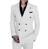 Solovedress Hommes's costume Blanc Casual Casual Bureau à double boutonnage Blazer + pantalon personnalisable x0909