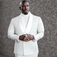 Men's Suits & Blazers Afrain White Plus Size Men Shawl Lapel Wedding Groom Fashion Prom Tuxedo Blazer Terno Masculino Slim Fit Custom Made 2