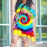 Yaz Bayan Kravat Boya T Gömlek Düzensiz Gevşek Tops Ve Sıska Şort Biker Kıyafet 2 Parça Tasarımcıları Eşofman Kravat Boyalı Jakuzi Giyim Seti G31DJJK