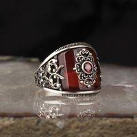 Agate Gemstone 925 Sterling Silver Men 'S Ring Cluster Rings