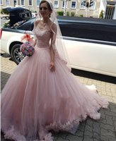 Blush Pink Tulle A Line Wedding Dresses Bridal Gowns Lace Sweetheart Sexy Back Robe De Marrige Handmade Flowers Sweep Train Quinceanera Dress