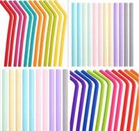 24 styles de grade alimentaire boissons boissons pailles en silicone recyclage de la silicone cocktail pailles de la pâte bonbons de la paille de la paille droite Fournitures de courbe droite