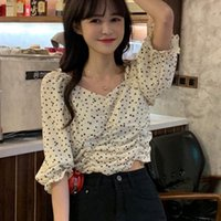 Women's Blouses & Shirts #4087Yellow Black Sexy Blouse Women Deep V Neck Princess Long Sleeves Tops For Elastic Waist Tunic Short Korean Sty