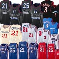 2021 Basketbol Jersey Mens Philadelphia76ermens Jersey Allen 3 Iverson Joel 21 Embiid Ben 25 Simmons Julius 6 ERVING LZYHOME CITY