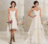 2021 New Sexy Two Pieces Wedding Dresses Spaghetti Lace A Line Bridal Gowns With Hi-Lo Short Detachable Skirt Country Bohemian Wedding Gown