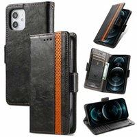 Cajas de billetera de cuero magnética de negocios para iPhone 13 Pro Max 12 Mini 11 XR XS x 8 7 6 Plus Phone13 imán de la tapa de lujo de la tarjeta de identificación de la tarjeta de identificación del soporte del soporte del soporte de los hombres Bolsa móvil