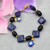 타입 천연 블루 Lapis Lazuli 스톤 12mm 14mm 스퀘어 펄 비즈 팔찌 칠보 Spacers Tassels DIY Jewelry 7.5inch B2951 Beaded, Stran