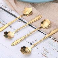 10 pz / set carino fiore in acciaio inox cucchiaino da cucchiaino da caffè cucchiaino da caffè dorato sakura rosa cucchiaio
