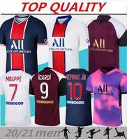 Mens 2021 Gömlek Maillots de Futbol Mbappe Futbol Forması 20 21 Eve Uzakta Üçüncü Dördüncü Formalar Gömlek