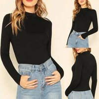 Women's Hoodies & Sweatshirts 1pc Ladies Winter Autumn Clothing Fashion Basic Mock Neck Slim Fitted Long Sleeve Casual Pullovers Tee Tops Ch