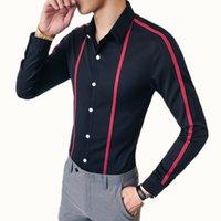 Ribbon Striped Men's Shirt Long Sleeve Slim 2019 New Men's Social Club Shirt Casual Business Dress Party Brand Top