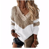 2021 new product color-blocking sweater striped autumn and winter leopard print v-neck pullover top