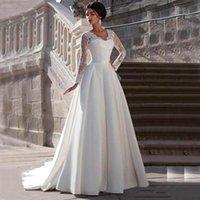 Modeste dentelle Appliquée A-Line Robe de mariée en satin Sarétheart Col Cap Sweer Back Cap à manches longues Robe de mariée Plus Taille