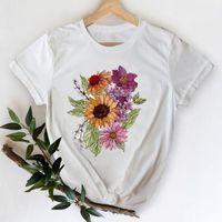 T-shirts Women 2021 Flower Short Sleeve Spring Summer 90s Clothes Printing Graphic Tshirt Top Lady Print Female Tee T-Shirt Women's