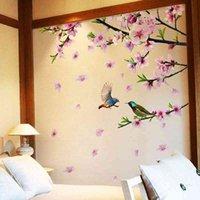 [Shijuehezi] Дерево ветвь цветок наклейки птиц DIY PECH BLOSSOM наклейки на стену для дома гостиная спальня украшения CGUY # HYDP