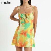 Günlük Elbiseler MXTIN 2021 Kadınlar Vintage Chic Çiçek Baskı Midi Elbise Yay Backless Teneke Kravat Sapanlar Kadın Parti Vestidos Mujer