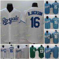 Herren 15 Whit Merrifield Baseball Trikots 16 Bo Jackson 13 Salvador Perez genäht FlexBase Cool Base Team Weiß Blau