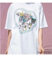 멜빌 브랜디 캐주얼 스타일 드레스 회전 목마 사랑 인쇄 라운드 넥 루스 BM 여성을위한 화이트 짧은 소매 티셔츠