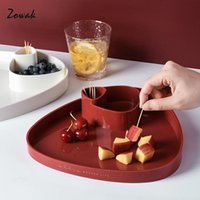 Kitchen Storage & Organization Fruit Tray Plastic Serving Plate Snack Dish 2 Compartments Bowl Vegetable Appetizer Table Nuts