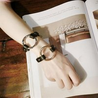 Link, Chain Fashion Street Shooting Style Trendy Bracelet European And American High Profile Retro Leather Metal Ring Design