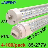 전구 4-100 / 팩 슈퍼 밝은 LED 튜브 전구 8FT 2.4M FA8 R17D 회전 HO 트윈 행 조명 개조 형광등 더블 바 조명