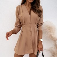 Womens Elegent Solid Color Ladies Shirt V-Neck Loose Long-Sleeved Dress Women Tops Blouse 2021 Fashion Autumn Women's Blouses & Shirts