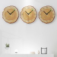 Wall Clocks 12inch Vintage Wooden Clock Cafe Office Home Kitchen Silent Timepiece Decor