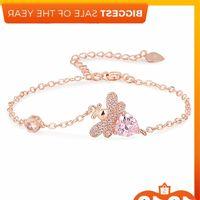 honey bee Heart shaped pink Bracelet full of zircon inlaid with Diamond women's handpiece net red