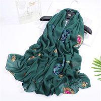 Bufanda y chal floral étnico Bufanda y chal Mujeres blandas suaves Florew Wraps Hijab Bandanas