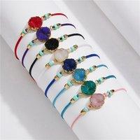 Charm Bracelets Hand-woven Precious Gemstone bracelet Make a Natural stone Handmade Beads Braided with Card Jewelry drop ship U1OM M6EU