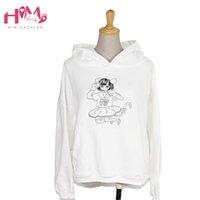 Himifashion Brand Women Sudadera Blanco Gato Chica Dibujos animados Impresiones de algodón con capucha con gorra Rosa Lindo Mantenga sudaderas con capucha cálida