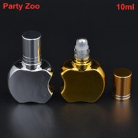 Storage Bottles & Jars 100 X 10ml Apple Shape Empty Glass Roll On With Golden Silver Refillable Essential Oil Roll-On Perfume Wholesale