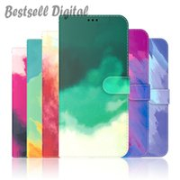 Fashion Phone Case For Samsung Galaxy S8 S9 S10 S20 S21 FE Plus Ultra Note 10 20 Lite Gradient Watercolor Cover Card Flip Wallet Leather