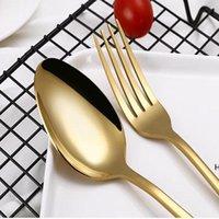 4 Takım Paslanmaz Çelik Çatal Altın Siyah Mix Renkler Mavi Gümüş Kaplama Yemek Bıçak Çatal Kaşık Kiti DHE5721