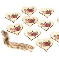 Ahşap Parti Asılı Kolye Vintage Gül Çiçek Melek Renkli Baskılı Festivali Ağacı Süs 10 adet / grup DIY Ev Dekorasyonu ZZE5698
