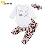 Ma&Baby 0-24M Leopard Newborn Infant Baby Girl Clothes Set Daddy's Little Girl Romper + Pants Headband Cute Autumn Outfits 210427