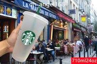 DHL Hızlı Kargo Starbucks 24 OZ / 710 ML Plastik Tumbler Kullanımlık Temizle İçme Düz Alt Kupası Ayağı Şekli Kapak Saman Kupa Bardian